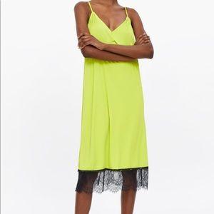 Zara small lime green lace trim slip dress NWT
